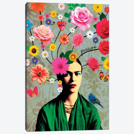 Frida Passion Canvas Print #APH63} by Ana Paula Hoppe Canvas Art