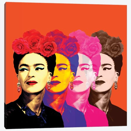 Fridas Orange Canvas Print #APH64} by Ana Paula Hoppe Art Print