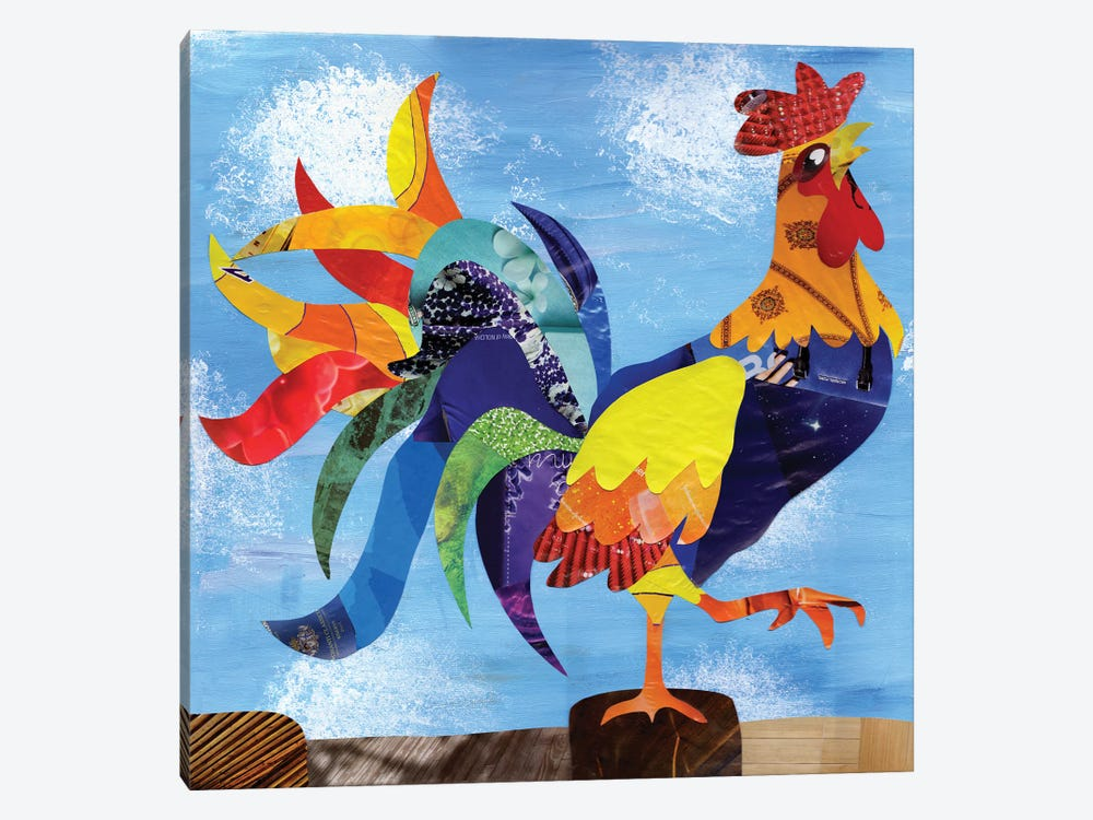 Colorful Rooster by Artpoptart 1-piece Canvas Wall Art