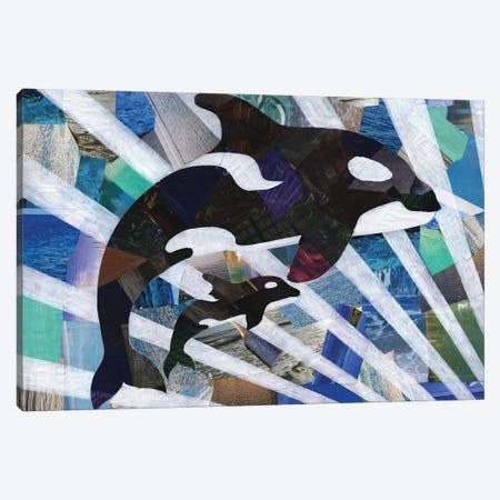 Killer Cute Whales Canvas Print #APT23} by Artpoptart Canvas Artwork