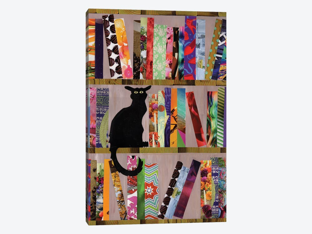 Bookcat by Artpoptart 1-piece Canvas Wall Art