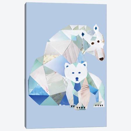 Polar Bears Gray Canvas Print #APT38} by Artpoptart Art Print