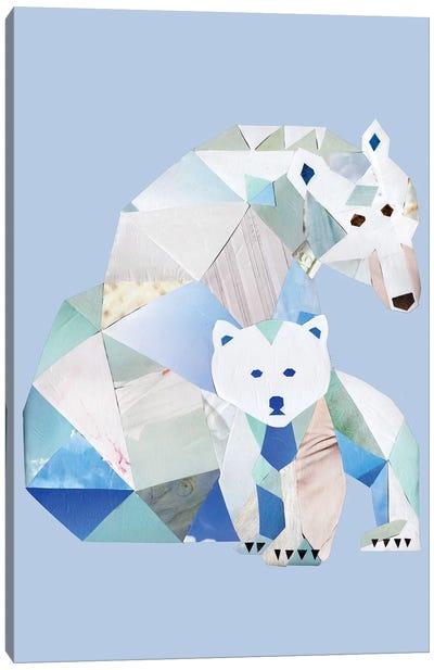 Polar Bears Gray Canvas Art Print