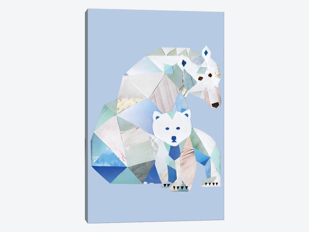 Polar Bears Gray by Artpoptart 1-piece Canvas Art Print