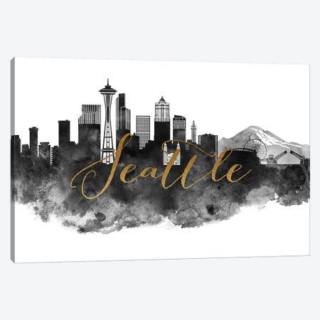 Seattle in Black & White Canvas Print #APV100} by ArtPrintsVicky Canvas Artwork
