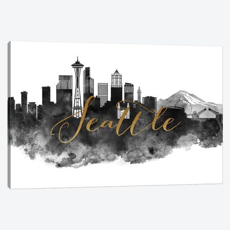 Seattle in Black & White Canvas Print #APV100} by ArtPrintsVicky Canvas Artwork