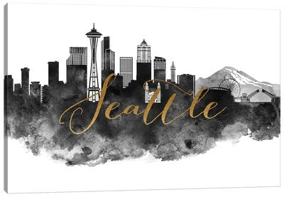 Seattle in Black & White Canvas Art Print