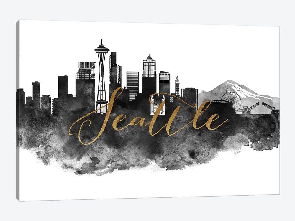 Seattle in Black & White by ArtPrintsVicky 1-piece Canvas Art Print