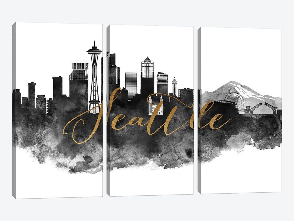 Seattle in Black & White by ArtPrintsVicky 3-piece Art Print
