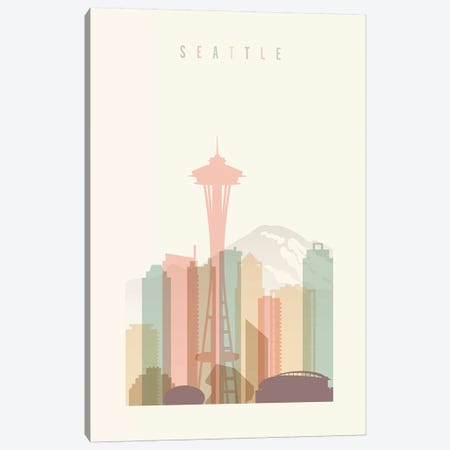 Seattle Pastels in Cream Canvas Print #APV101} by ArtPrintsVicky Canvas Artwork