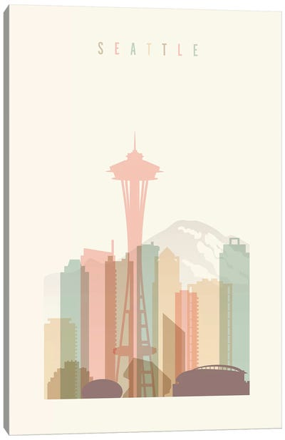 Seattle Pastels in Cream Canvas Art Print