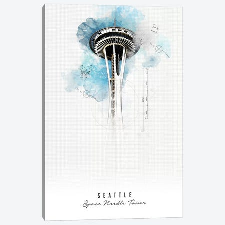 Space Needle - Seattle Canvas Print #APV103} by ArtPrintsVicky Canvas Art