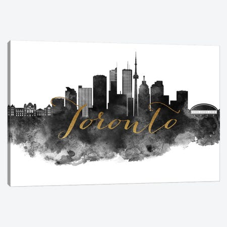 Toronto in Black & White Canvas Print #APV107} by ArtPrintsVicky Canvas Art Print