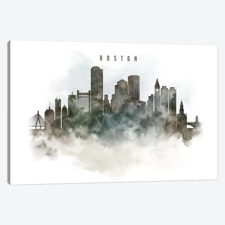 Boston Watercolor Cityscape Canvas Print #APV10} by ArtPrintsVicky Art Print