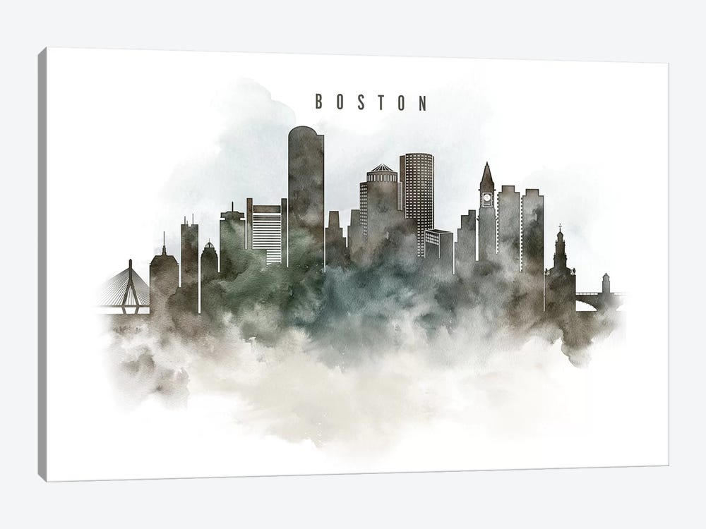 Boston Watercolor Cityscape by ArtPrintsVicky 1-piece Canvas Artwork