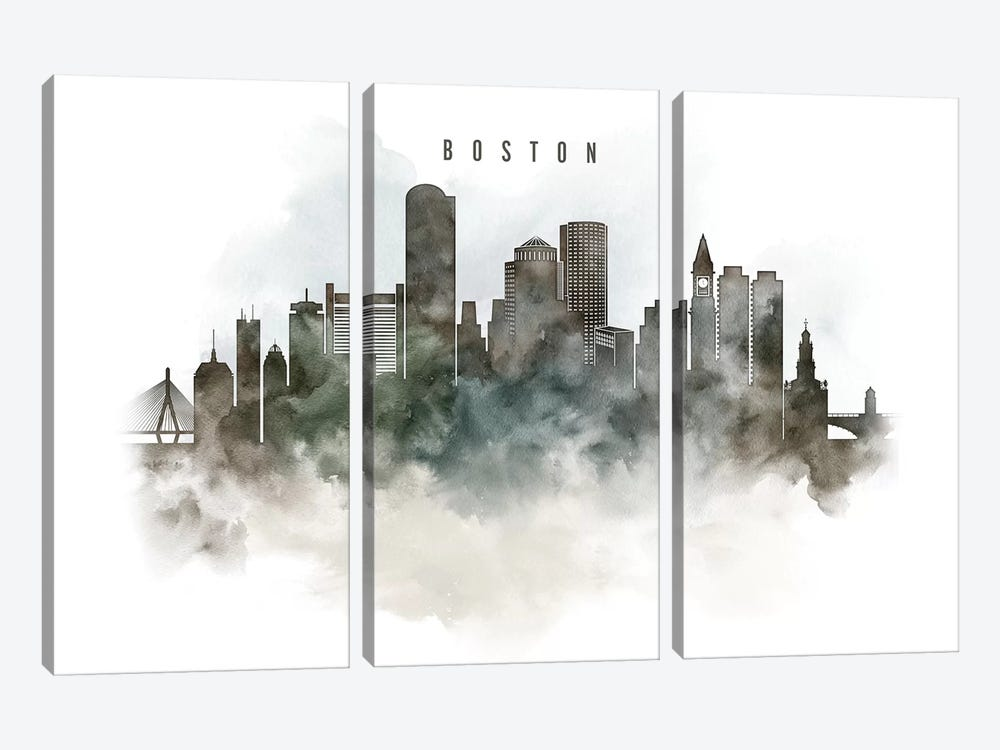 Boston Watercolor Cityscape by ArtPrintsVicky 3-piece Canvas Art