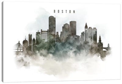 Boston Watercolor Cityscape Canvas Art Print