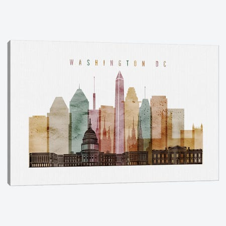 Washington, DC Watercolor I Canvas Print #APV111} by ArtPrintsVicky Canvas Art Print