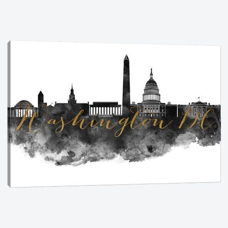 Washington, DC in Black & White Canvas Print #APV113} by ArtPrintsVicky Art Print