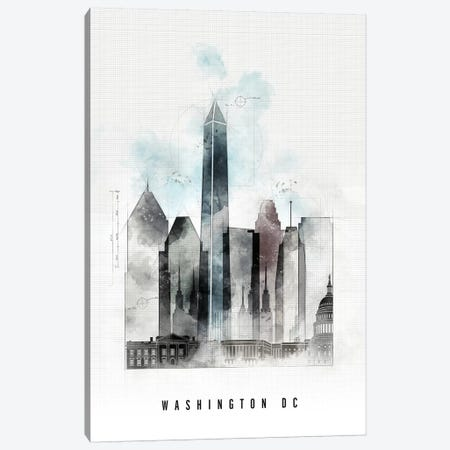 Washington, DC Urban Canvas Print #APV116} by ArtPrintsVicky Canvas Wall Art