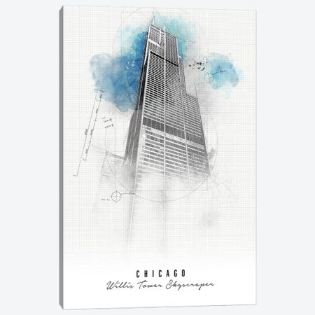 Willis Tower - Chicago Canvas Print #APV117} by ArtPrintsVicky Canvas Wall Art