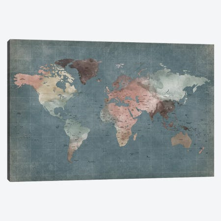 World Map Abstract I Canvas Print #APV118} by ArtPrintsVicky Art Print