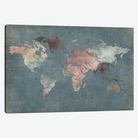 World Map Abstract I Canvas Print #APV118} by ArtPrintsVicky Art Print