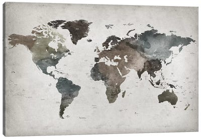 World Map Abstract II  Canvas Art Print
