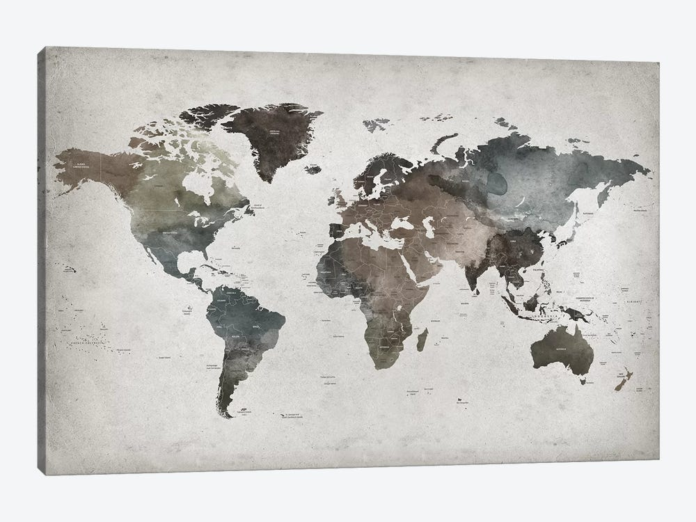 World Map Abstract Ii Canvas Art Print By Artprintsvicky Icanvas