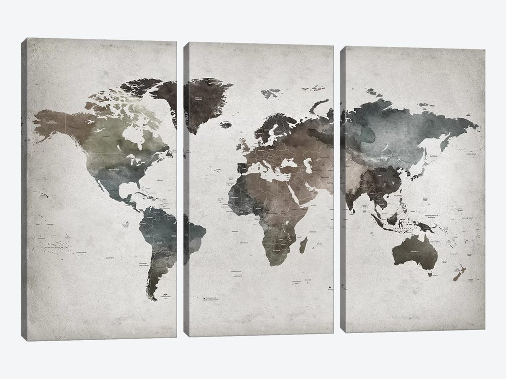 World Map Abstract II  3-piece Art Print