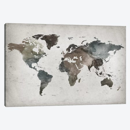 World Map Abstract II  Canvas Print #APV119} by ArtPrintsVicky Canvas Print