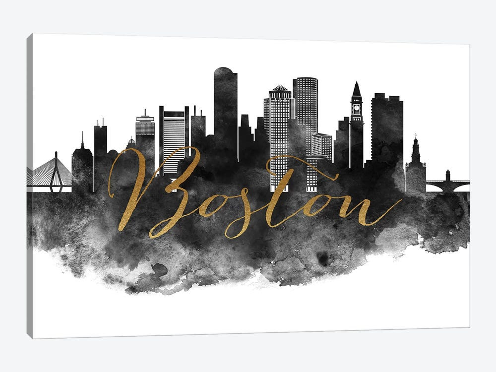 Boston in Black & White by ArtPrintsVicky 1-piece Canvas Art Print