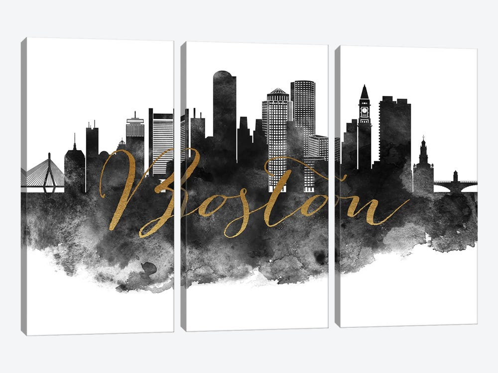 Boston in Black & White by ArtPrintsVicky 3-piece Art Print