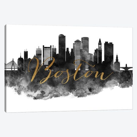 Boston in Black & White Canvas Print #APV11} by ArtPrintsVicky Art Print
