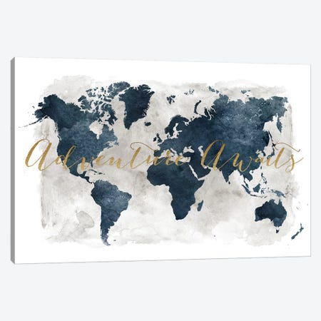 World Map Adventure Awaits I Canvas Print #APV120} by ArtPrintsVicky Canvas Artwork