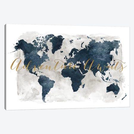 World Map Adventure Awaits I Canvas Print #APV120} by ArtPrintsVicky Canvas Artwork
