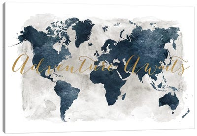 World Map Adventure Awaits I Canvas Art Print