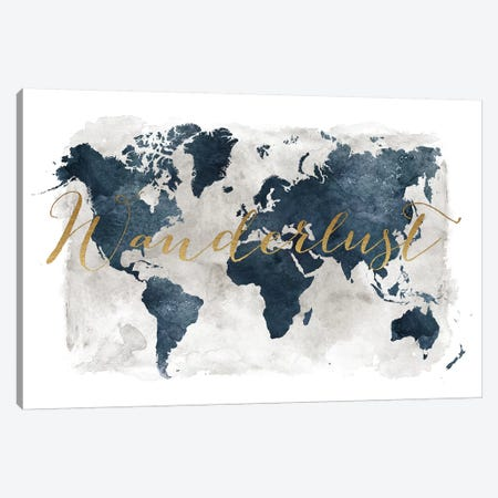 World Map Wanderlust I Canvas Print #APV121} by ArtPrintsVicky Canvas Artwork