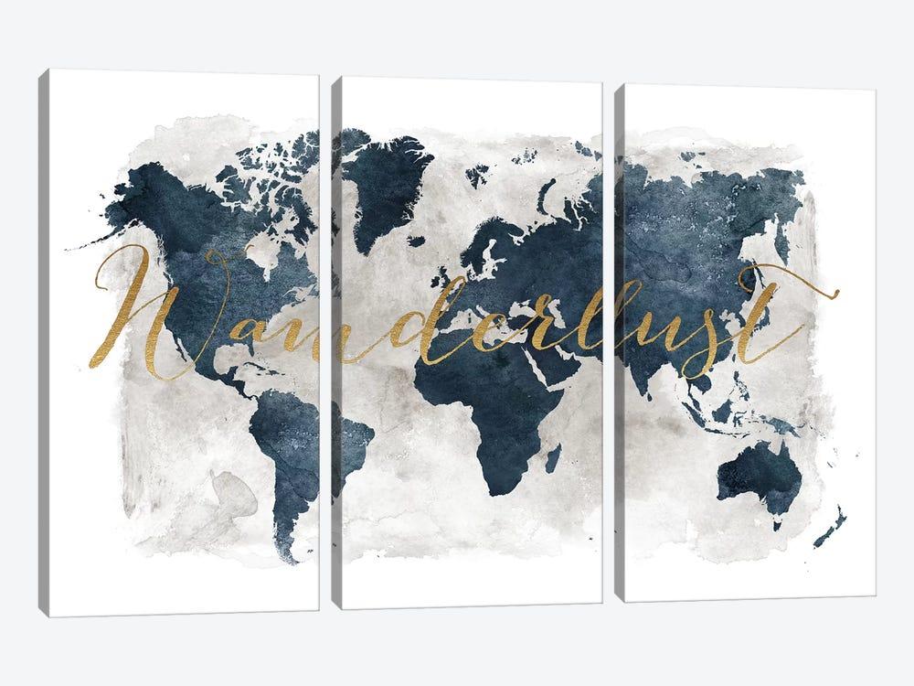 World Map Wanderlust I by ArtPrintsVicky 3-piece Canvas Wall Art