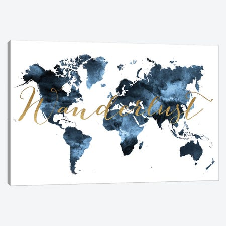 World Map Wanderlust II Canvas Print #APV122} by ArtPrintsVicky Canvas Artwork