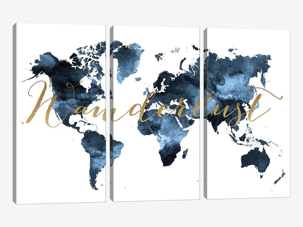 World Map Wanderlust II by ArtPrintsVicky 3-piece Canvas Art Print