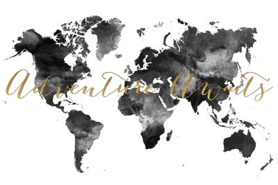 World map adventure awaits in black white c artprintsvicky framed canvas gumiabroncs Image collections