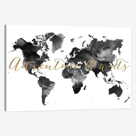 World Map Adventure Awaits in Black & White Canvas Print #APV123} by ArtPrintsVicky Canvas Wall Art