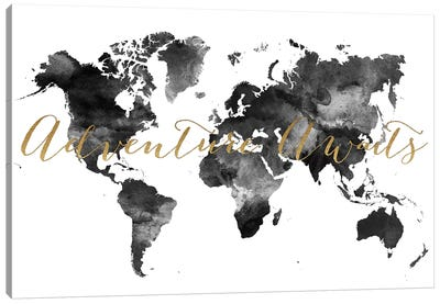 World Map Adventure Awaits in Black & White Canvas Art Print