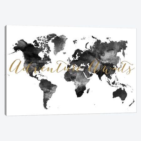 World Map Adventure Awaits in Black & White Canvas Print #APV123} by ArtPrintsVicky Canvas Wall Art