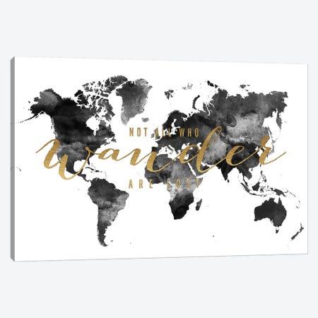 World Map Not All Who Wander I Canvas Print #APV124} by ArtPrintsVicky Canvas Print