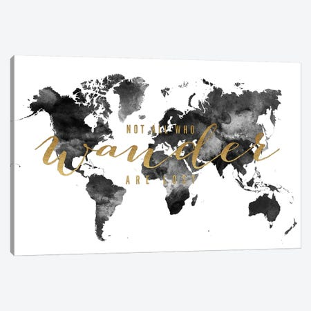 World Map Not All Who Wander I Canvas Print #APV124} by ArtPrintsVicky Canvas Print