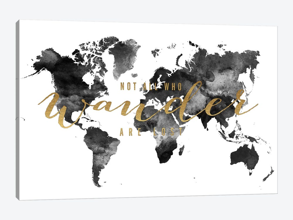 World Map Not All Who Wander I by ArtPrintsVicky 1-piece Canvas Print