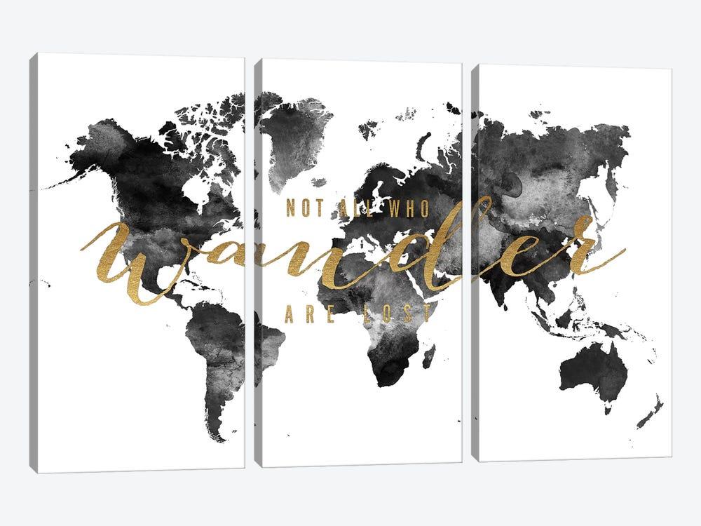 World Map Not All Who Wander I by ArtPrintsVicky 3-piece Art Print