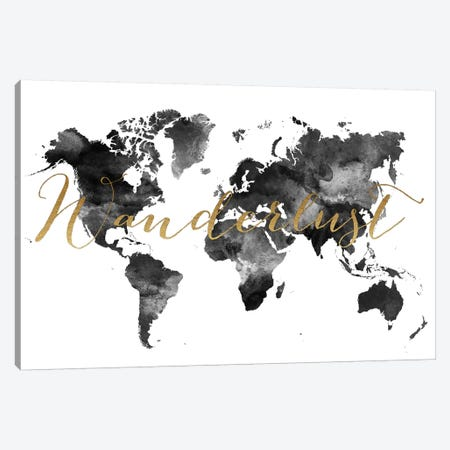 World Map Wanderlust in Black & White Canvas Print #APV125} by ArtPrintsVicky Art Print